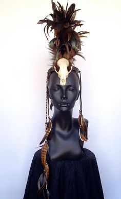 magnifique!!!!    MADE TO ORDER Midsize Skull Warrior Feather by MissGDesignsShop, $350.00