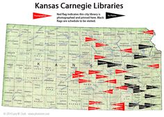 Map of Carnegie libraries in Kansas. Work in progress. Carnegie Library, City Library, Historical Pictures, Kansas, Libraries, Map, Location Map, Library Room, Maps