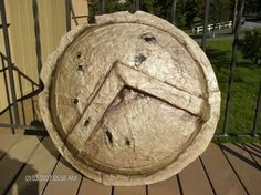 Spartan Shield: I love halloween, it can`t come soon enough! My first Halloween Instructable is going to be a Spartan shield. Spartan Shield, Can Lids, My First Halloween, Garbage Can, Swords, Noodle, Social Studies, Homeschool, Plastic