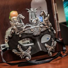 Black Silver Roman Greek Emperor Men's Masquerade Mardi Gras Venetian Mask
