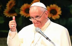 Pope Francis gives a thumbs up to Teilhard de Chardin