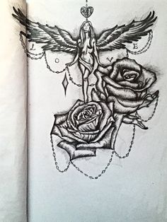 My tattoo design which I would use for the upper thigh or one side lower back placement. Rising angel amongst giant roses.