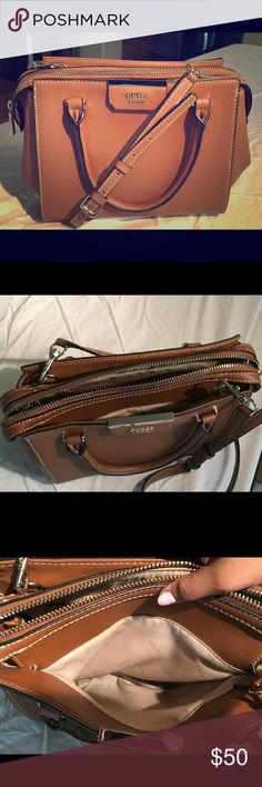 Guess Vegan Leather Purse Brown vegan leather purse with strap and handles attached. Plenty of pockets and space for a big wallet/phone/accessories. Guess Bags Shoulder Bags