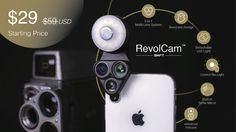 With three high quality camera lenses, an adjustable brightness LED and Selfie Mirror, RevolCam is smartphone photography reinvented