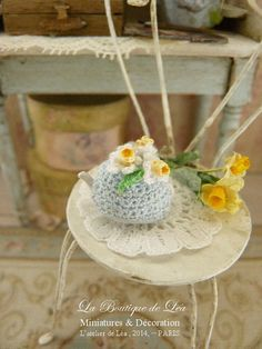 Cozy teapot hand crocheted, Romantic daffodils, Accessory for dollhouse in 1:12th scale