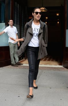 Pin for Later: You Only Need 13 Reasons to Start Obsessing Over Gal Gadot's Style  The star went with practical footwear for a day in NYC, opting for a pair of flats with her casual outfit.