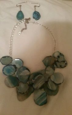 Barse blue agate necklace and earrings - http://designerjewelrygalleria.com/barse/barse-blue-agate-necklace-and-earrings/