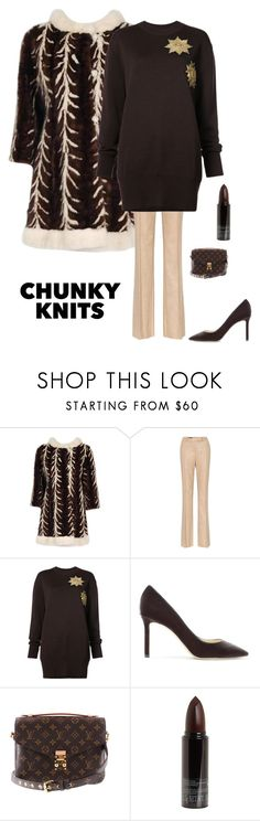 """Chunky Sweaters"" by kotnourka ❤ liked on Polyvore featuring Loro Piana, Vera Wang, Jimmy Choo, Louis Vuitton and Serge Lutens"