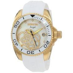 Invicta 0488 Women's Angel Cubic Zirconia MOP Dial Rubber Strap Gold Tone Steel Watch