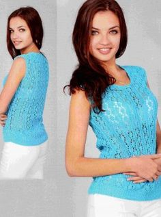 Top in Lace Pattern #Knitting Size: 8 (US 6). http://knitchart.com/item/top-in-lace-pattern-3.html