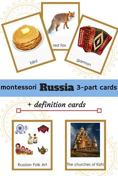 Russia Montessori 3-part Cards + definition Cards printables material