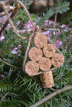 Chrismas tree ornament made out of wine corks and yarn.