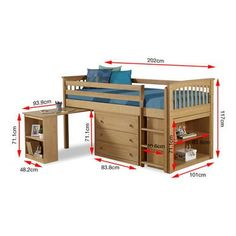 Windermere Solid Pine Mid Sleeper with Pull Out Desk