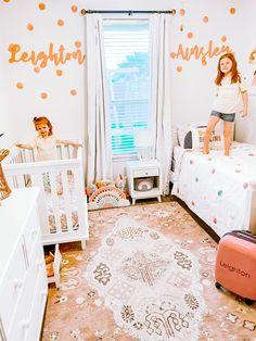 Baby Room Decor, Room Decor Bedroom, Bedroom Ideas, Baby And Toddler Shared Room, Girl Toddler Bedroom, Shared Rooms, Shared Bedroom Girls, Ikea Girls Bedroom, Big Girl Bedrooms