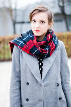 tartan and grey coat outfit of the day