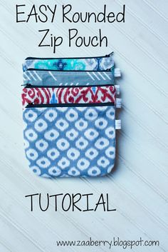 Zaaberry: EASY Rounded Zip Pouch TUTORIAL (with template)