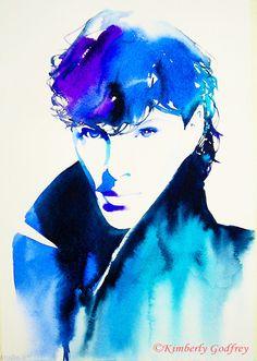 Sherlock Bendict Cumberbatch Art Print Original Watercolour Painting Portrait