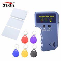 Handheld 125 KHz RFID Duplicator Copier Schrijver Programmeur Reader + 6 Toetsen 6 stks Kaarten EM4305 T5577 Herschrijfbare ID Keyfobs Tags Card