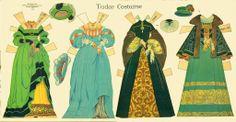 Tudor Costume:  Historic Costume Paper Doll Cut-Outs by Rachel Taft Dixon, 1934