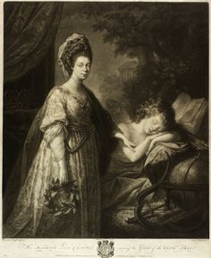"""Her Majesty Queen Charlotte, raising the Genius of the Fine Arts"" 19/05/1772  mezzotint  CRE BURKE, Thomas; (Irish; 1749-1815) AFTER KAUFFM..."