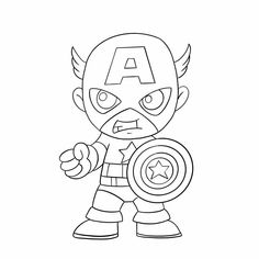 Mario Coloring Pages, Cartoon Coloring Pages, Free Coloring, Coloring Books, Iron Man Capitan America, Captain America, Easy Cartoon Drawings, Easy Drawings, Super Hero Coloring Sheets