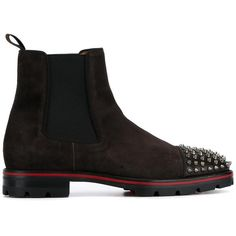 Christian Louboutin 'Melon Flat' boots (€1.050) ❤ liked on Polyvore featuring men's fashion, men's shoes, men's boots, brown, men's wedge sole boots, mens flat shoes, mens spiked boots, mens flat boots and mens leather shoes