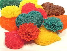 Autumn Soap - Decorative Fall Hearts and Flowers Collection Vegan Thanksgiving Decorative Soaps, Vegan Thanksgiving, Splish Splash, Edible Art, I Am Happy, Rainbow Colors, Spa, Artsy, Bath