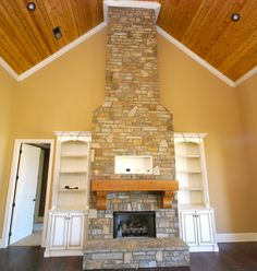 Stone Fireplace and Wood Ceiling
