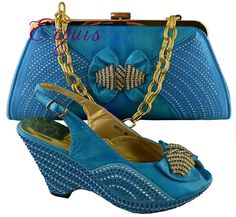 66.87$  Watch here - http://ai658.worlditems.win/all/product.php?id=32546628456 - Free shipping! New arrival beautiful combination shoe fashion and bag set for the retail and wholesale  blue B8011 size 38-42