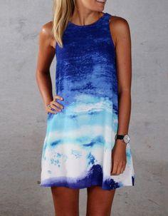 Stylish Ladies Women Casual Sleeveless Gradient Mini Sundress Blue Straight Dress