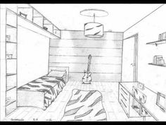 1 Point perspective rooms 8os. anos - YouTube