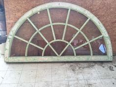 Antique Vintage half moon Window sash with glass painted green white (headboard)