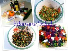 Cook 1C black rice in rice cooker or on stove top Combine in a large mixing bowl: -4 2/3 cup unshelled organic edamame -1 3/4 cup (1 can) organic garbanzo beans  -1 lg orange bell pepper chopped -1 lg yellow bell pepper chopped -1 whole cucumber chopped -1C chopped white onion -1C chopped unsalted dry roasted almonds -4 to 5 T balsamic vinegar  -1 T extra virgin olive oil  -salt to taste  Add black rice to bowl & stir ingredients together (optional) add goat cheese on top of single serving.