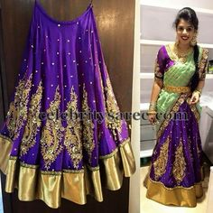 Heavy Border Kanjeevaram Bridal Half Sarees and Lehengas for weddings, engagement and half saree ceremony, pattu lehengas Half Saree Designs, Lehenga Designs, Blouse Designs, Indian Bridal Lehenga, Indian Bridal Fashion, Indian Dresses, Indian Outfits, Indian Clothes, Half Saree Function