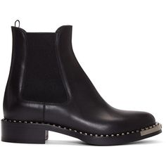 Miu Miu Black Leather Chelsea Boots ($965) ❤ liked on Polyvore featuring shoes, boots, ankle booties, footwear, black, chelsea bootie, round toe booties, chelsea boots, genuine leather boots and black booties