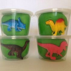 Play dough dinosaur favors