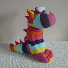 Plush Sock Animal - Dragon in technicolor Sock Animals, Plush Animals, Clay Animals, Stuffed Animals, Dinosaur Socks, Sock Puppets, Sock Crafts, Sock Dolls, Cute Toys