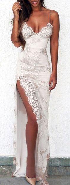 white spaghetti prom dress,lace split V-neck prom dress with appliques,260