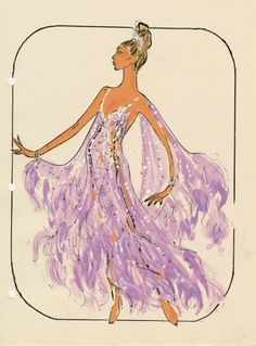 "The Pete Menefee costume design drawing of a showgirl in a sheer lavender gown for the show ""Jubilee!"" at the MGM Grand Hotel and Casino in Las Vegas, June 05, 1980.  Image is part of the UNLV Libraries ""Showgirls"" digital collection."