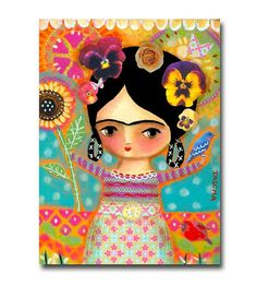 ORIGINAL mixed media acrylic painting FRIDA Kahlo in nature with flowers and…
