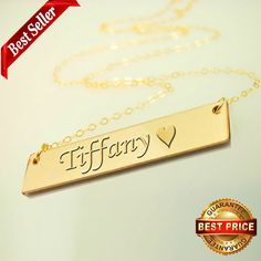 Gold Bar Necklace Personalized Name Bar by newyorkcustommade