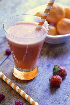 A fresh strawberry and orange smoothie made with Driscoll strawberries, orange juice and apple juice. It's packed with vitamin C and a great way to start your day.