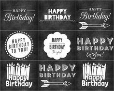Birthday Cards in Chalkboard