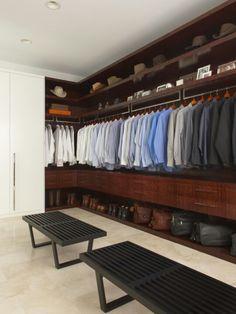 Masculine closet Great hat storage!