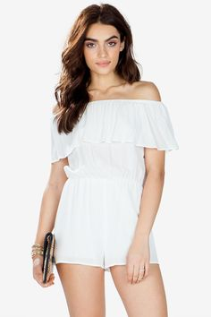 A breezy and dreamy gauzy romper, featuring an off-shoulder neckline with all-around ruffle and elasticized waist. Finished leg openings. Partially lined. Looks perfect with strappy sandals and a wide-brimmed hat! $29.90