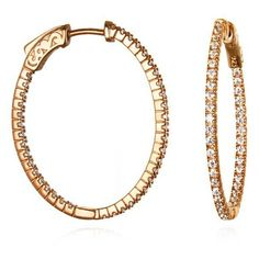 Rose Gold Vermeil Inside Outside CZ Small Oval Hoop Earrings ($128) ❤ liked on Polyvore featuring jewelry, earrings, zirconia earrings, vermeil earrings, cubic zirconia earrings, rose jewelry and rose earrings