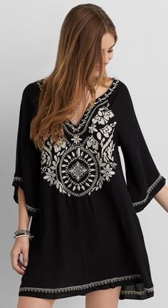 American Eagle Outfitters AEO Embroidered Bell Sleeve Dress