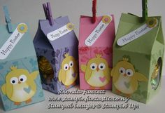 Cute chicks Easter boxes uses the Milk Carton die and the Windows Framelits for the box and the Owl punch for the chicks.