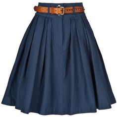 navy pleated skirts and tan belts