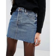 ASOS Denim Low Rise Pelmet Skirt in Freesia Mid Stonewash with Raw Hem ($38) ❤ liked on Polyvore featuring skirts, mini skirts, tall denim skirt, zipper mini skirt, tall skirts, blue denim skirt and denim miniskirt